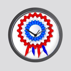 Red White and Blue Rosette Wall Clock