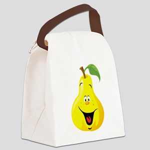 Cartoon quince fruit smiling Canvas Lunch Bag