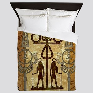 Egypt sign with floral elements Queen Duvet
