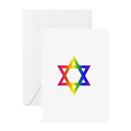 2rainbowstardavid Greeting Cards