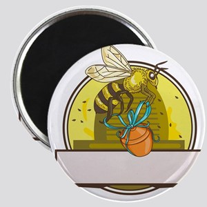 Bee Carrying Honey Pot Skep Circle Drawing Magnets