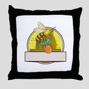 Bee Carrying Honey Pot Skep Circle Drawing Throw P
