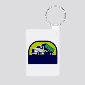 Roll-Off Truck Side Up Half Circle Retro Keychains