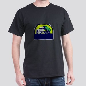 Roll-Off Truck Side Up Half Circle Retro T-Shirt
