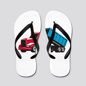 Roll-Off Truck Side Up Retro Flip Flops