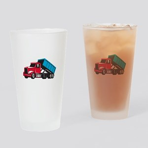 Roll-Off Truck Side Up Retro Drinking Glass