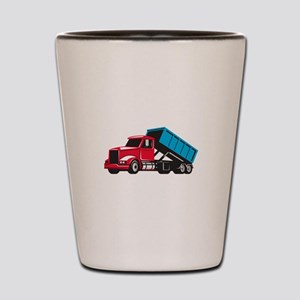 Roll-Off Truck Side Up Retro Shot Glass