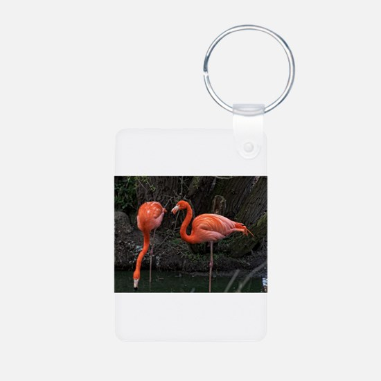 Standing Pink Flamingo's Keychains