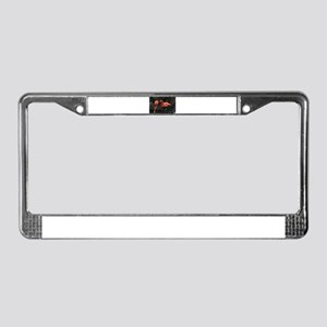 Standing Pink Flamingo's License Plate Frame