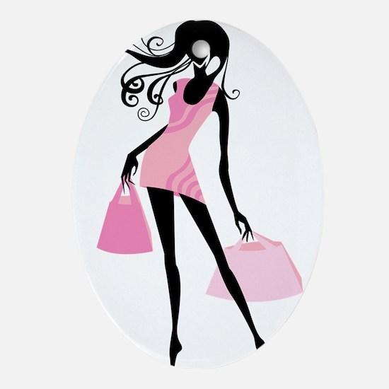 Fashion girl with handbag Oval Ornament