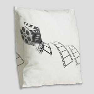 Film Reel Burlap Throw Pillow