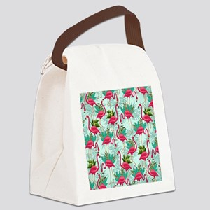Pink Flamingos Fabric Pattern Canvas Lunch Bag