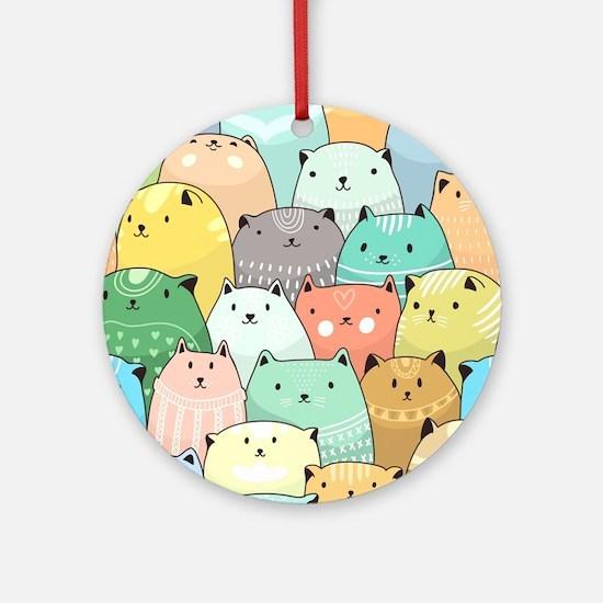 Cute Cats Round Ornament