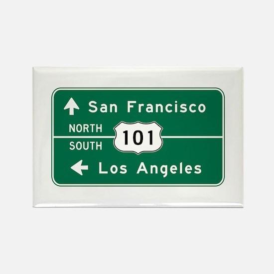 San Francisco-LA-US Rou Rectangle Magnet (10 pack)