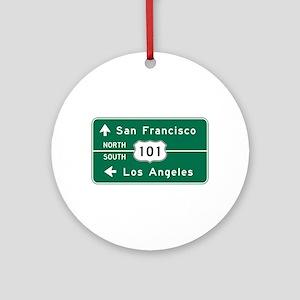 San Francisco-LA-US Route 101 Round Ornament