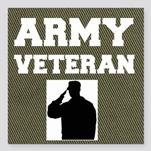 "Army Veteran Square Car Magnet 3"" x 3"""