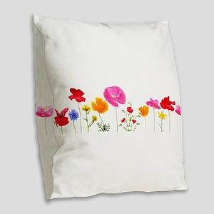 wild meadow flowers Burlap Throw Pillow