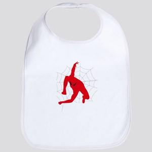 Spiderman sitting on spiderweb Bib
