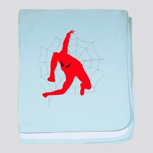 Spiderman sitting on spiderweb baby blanket