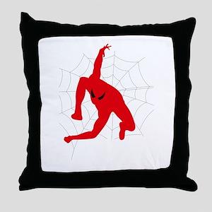 Spiderman sitting on spiderweb Throw Pillow