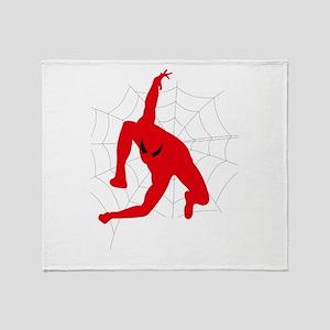 Spiderman sitting on spiderweb Throw Blanket