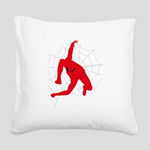 Spiderman sitting on spiderwe Square Canvas Pillow