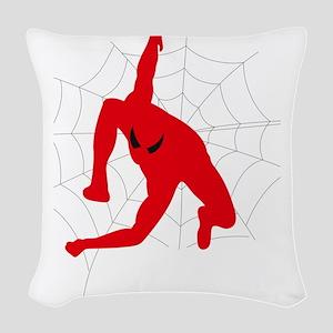 Spiderman sitting on spiderweb Woven Throw Pillow