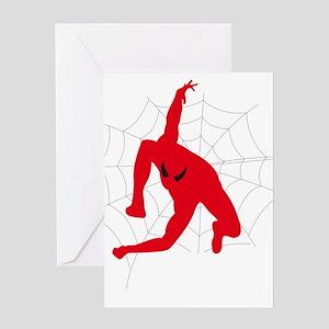 Spiderman sitting on spiderweb Greeting Cards