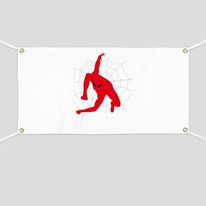 Spiderman sitting on spiderweb Banner