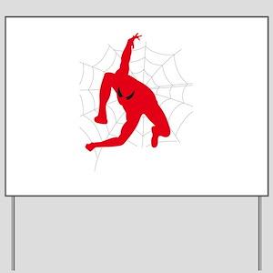 Spiderman sitting on spiderweb Yard Sign
