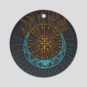 Sun and Moon Round Ornament
