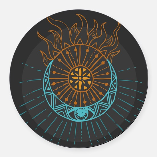 Sun and Moon Round Car Magnet
