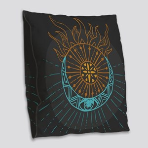 Sun and Moon Burlap Throw Pillow