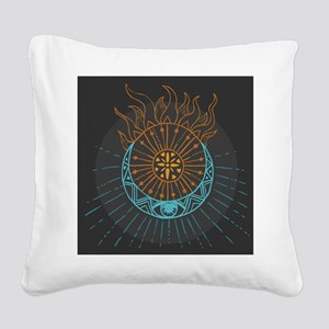 Sun and Moon Square Canvas Pillow