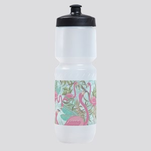 Pink Flamingos Fabric Pattern Sports Bottle