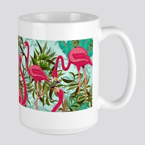 Pink Flamingos Fabric Pattern Mugs