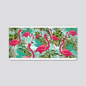 Pink Flamingos Fabric Pattern Aluminum License Pla