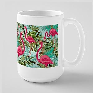 Pink Flamingos Fabric Pattern Mugs