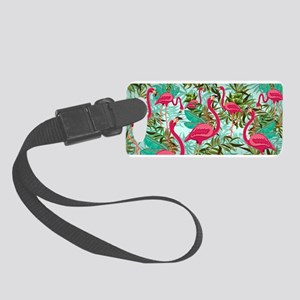 Pink Flamingos Fabric Pattern Small Luggage Tag