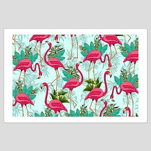 Pink Flamingos Fabric Pattern Poster Art