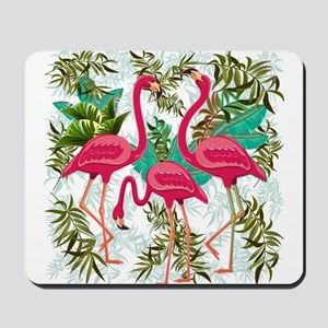 Pink Flamingos Fabric Pattern Mousepad