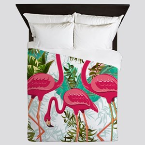 Pink Flamingos Fabric Pattern Queen Duvet