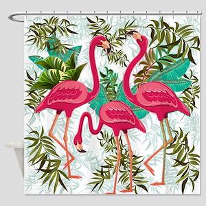 Pink Flamingos Fabric Pattern Shower Curtain