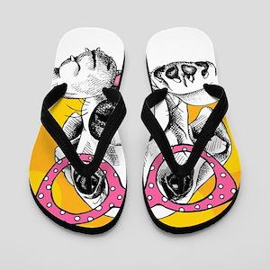 Hipster Dog Flip Flops