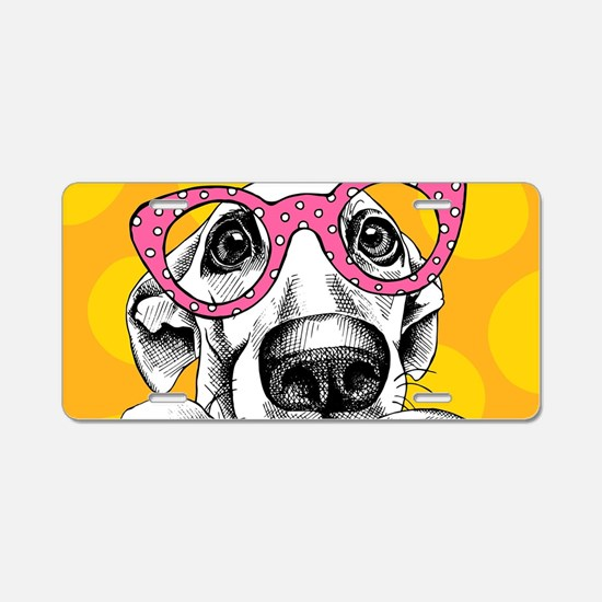 Hipster Dog Aluminum License Plate
