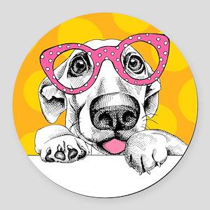 Hipster Dog Round Car Magnet