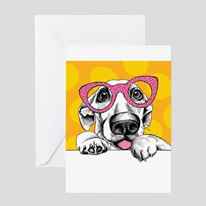 Hipster Dog Greeting Cards