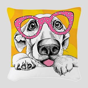 Hipster Dog Woven Throw Pillow