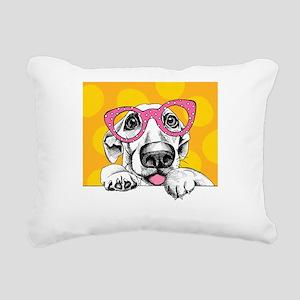 Hipster Dog Rectangular Canvas Pillow