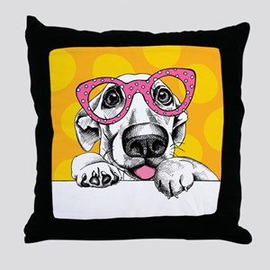 Hipster Dog Throw Pillow